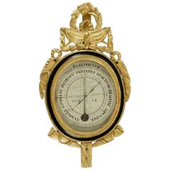 Functional Louis XVI Period Barometer, Gilt and Black Lacquer Wood, 18th Century