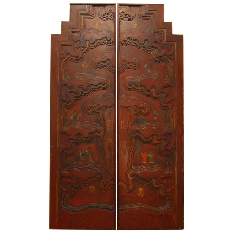 Pair Of Chinese Carved Temple Courtyard Door Panels For