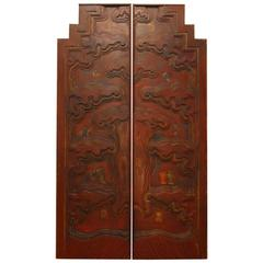 Pair of Chinese Carved Temple Courtyard Door Panels