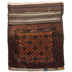 Antique Baluch Saddle Bag with Plain Weave Back, Western Afghanistan, circa 1900