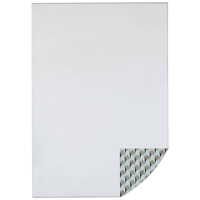 Risvolti B Steel and Opaline Glass Mirror