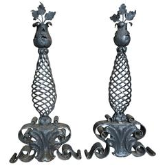 Late 19th Century to Early 20th Century Pair of Iron Andirons