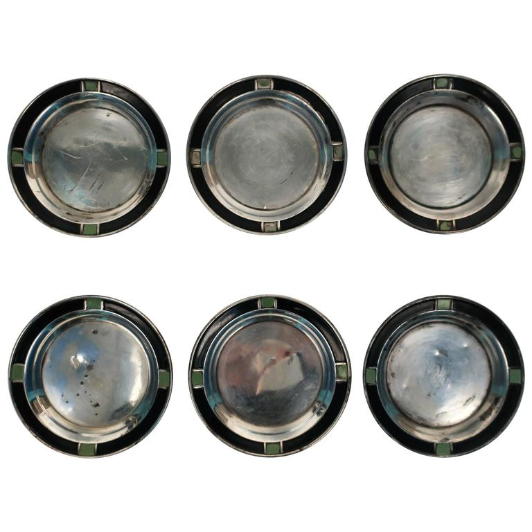 Set of 6 Sterling Silver Art Deco Small Barware or Nut Bowl Vessels, 1920s