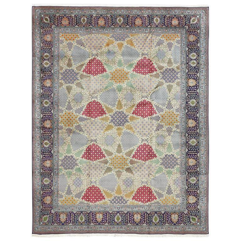 Fine Vintage Tabriz Persian Rug For Sale