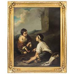 18th Century Painting Boys Playing Dice After Bartolome' Murillo
