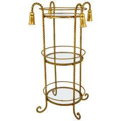 Italian Gilt Iron Hollywood Regency Rope Tassel Mirror Occasional Table, 1970s