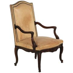 French Antique Leather Carved Mahogany Armchair, 19th Century