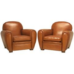 Pair of French Art Deco Leather Club Chairs Completely Restored