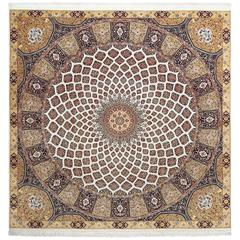 Square Vintage Tabriz Persian Rug