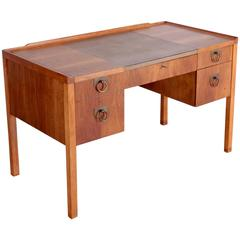 Edward Wormley Desk for Drexel in Walnut with Leather Top
