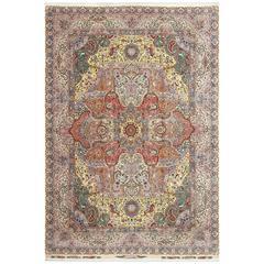 Fine Hunting Vintage Tabriz Persian Rug