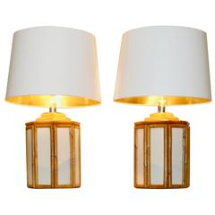 Pair of Table Lamps with a Bamboo Decor, circa 1980
