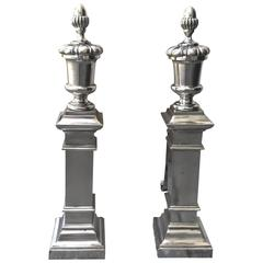 American Polished Nickel Neoclassical Andirons, circa 1900