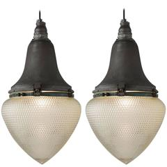 Industrial Aluminum and Glass Street Lamps, circa 1930
