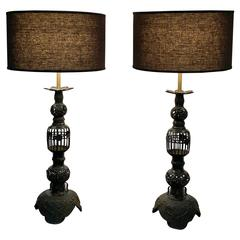 Pair of Large Asian Black Iron Table Lamps, 1940s