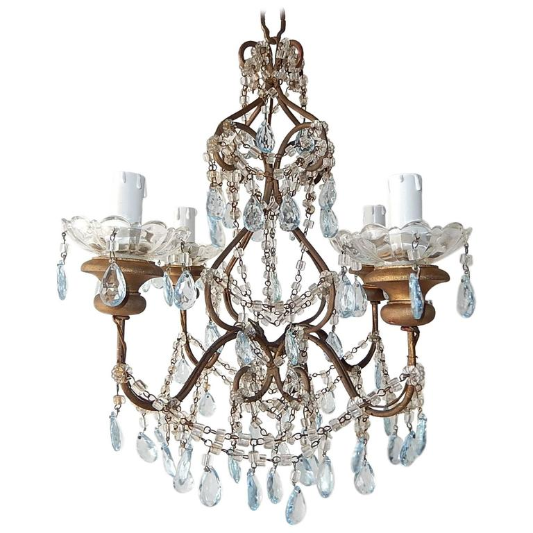 Light Blue Crystal Prisms Chandelier