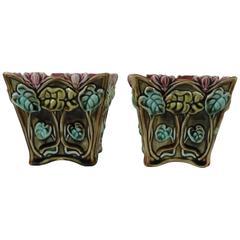 Pair of Majolica Cyclamens Cache Pots Onnaing, circa 1900