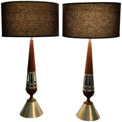 Mid Century Pair of Tony Paul for Westwood Walnut and Brass Table Lamps, 1950s