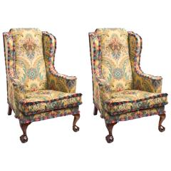 Antique Pair of Wing Armchairs Foliate Upholstery Liberty & Co, circa 1920