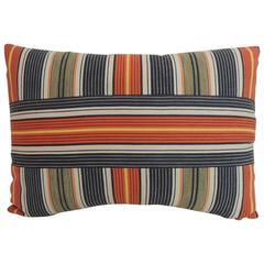 Vintage French Provincial Linen Multicolor Stripes Decorative Lumbar Pillow