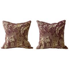 19th Century Orientalist Narrative Cushion, Toile de Nantes