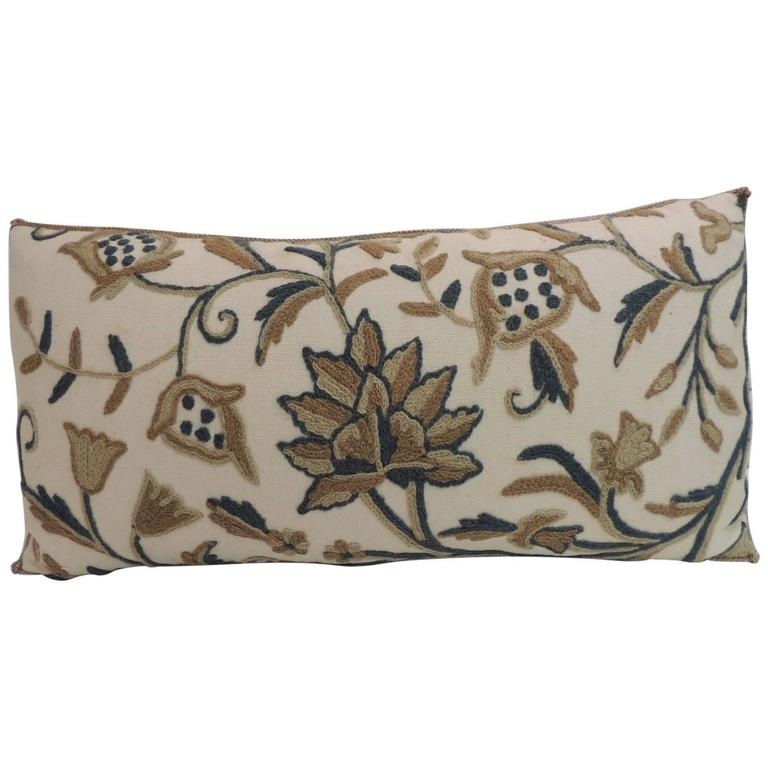 Vintage Tan and Green Crewel Work Floral Decorative Bolster Pillow For Sale