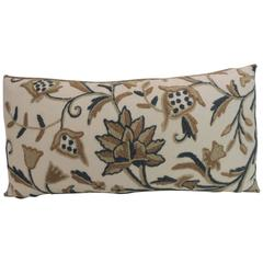 Vintage Tan and Green Crewel Work Floral Decorative Bolster Pillow