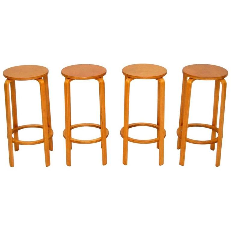 Set Of Four Retro Bentwood Bar Stools Vintage 1960s At