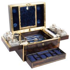 Antique English Coromandel and Silver Dressing Case T Dalton, 1849