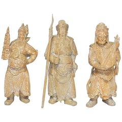 Set of Three Chinese Carved Statues of Immortals