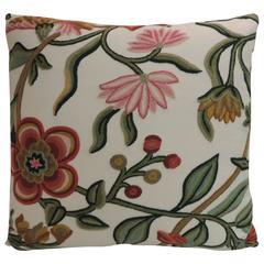 Vintage Crewel Work Floral Decorative Colorful Pillow