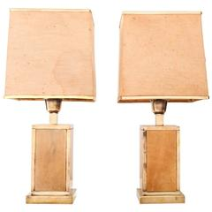 Rare Pair of Mid-Century Aldo Tura Lacquered Parchment and Brass Table Lamps