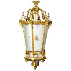 Vintage Gilt Bronze Six-Light Hall Lantern, Late 20th Century