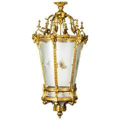Vintage Monumental Gilt Bronze Six-Light Hall Lantern, Late 20th Century