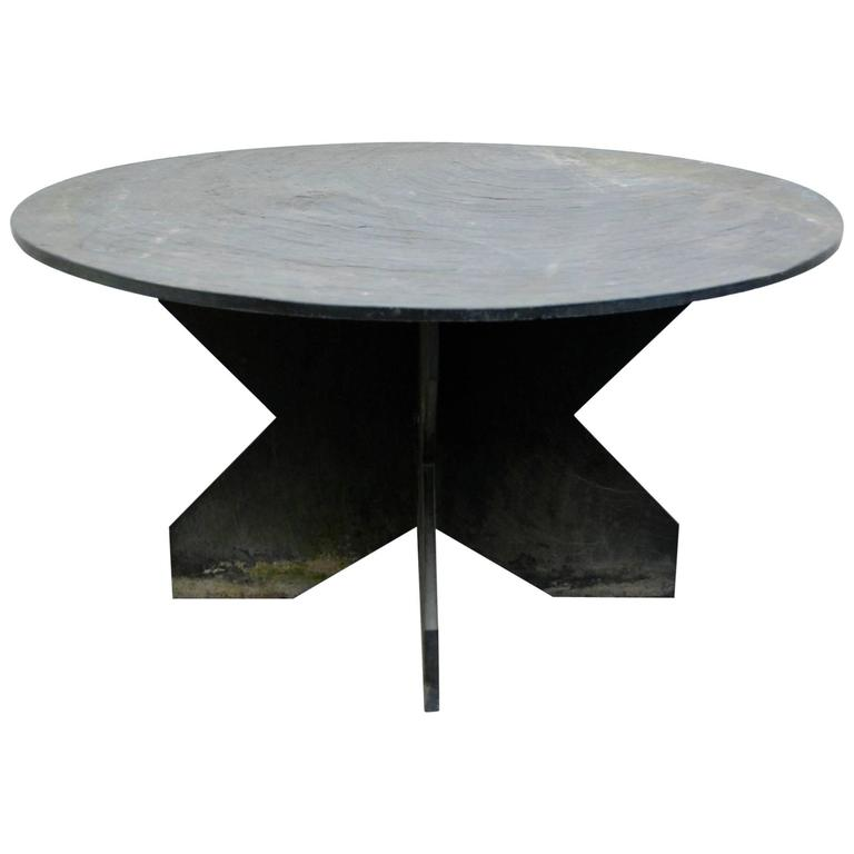 Slate Round Table At 1stdibs