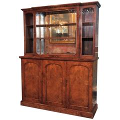"English Burl Walnut ""Cocktails"" Bar Cabinet-1920's"