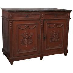 Antique French Painted Buffet with Faux Marble Top from Rouen, Normandy