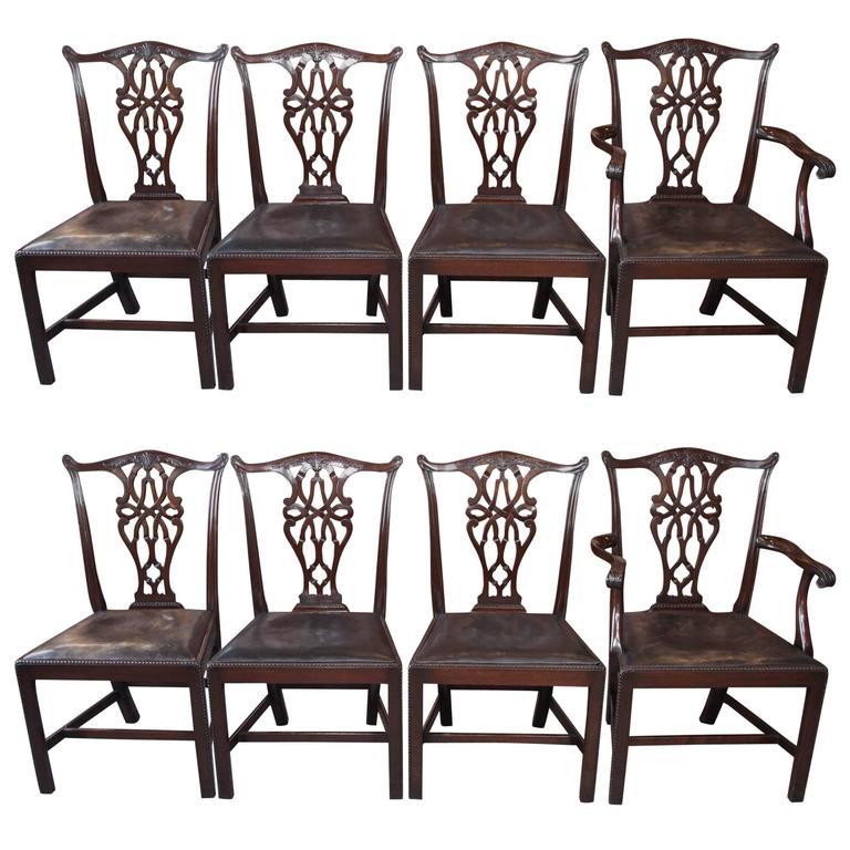 Set of Eight Antique English Georgian Mahogany Dining Chairs 1