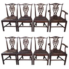 Set of Eight Antique English Georgian Mahogany Dining Chairs