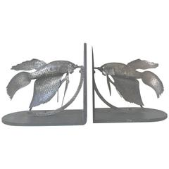 Rare Pair of 1920s Arts and Crafts Wrought Iron Siamese Fighting Fish Bookends