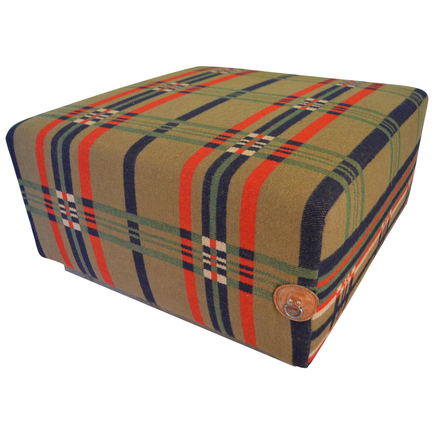 Ottoman Uphlostered in Vintage Horse Blanket on Rustic Barn Wood