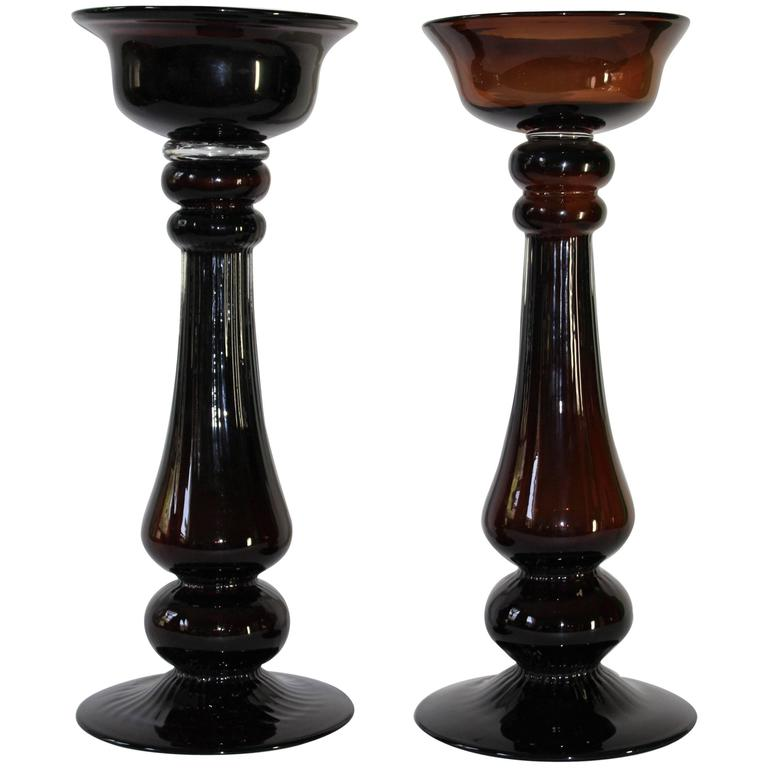Pair of Mid-Century Modern Hand Blown Glass Baluster Candlesticks For Sale