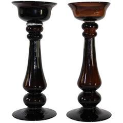 Pair of Mid-Century Modern Hand Blown Glass Baluster Candlesticks