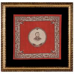 Printed Cotton Kerchief with a Portrait of Ulysses S. Grant