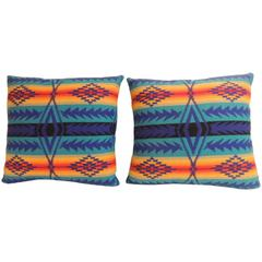 Pair of Vintage Blue and Orange Pendleton Large Decorative Pillows
