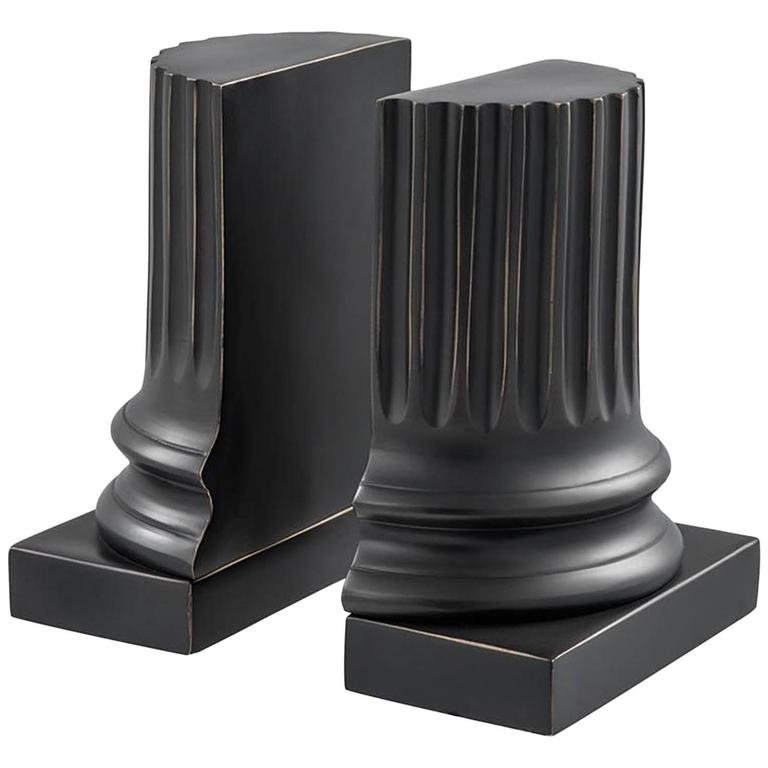 Black Bronze Bookends Set of Two in Gunmetal Bronze Finish For Sale