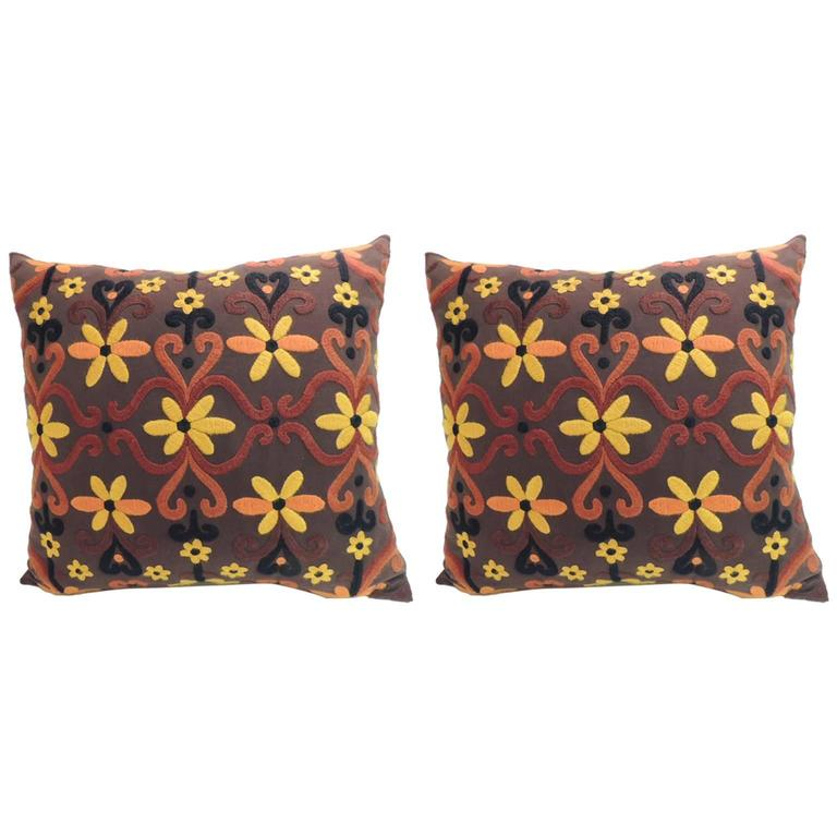 Large Decorative Pillows Floor : Pair of Large Orange and Brown Embroidered Floor Decorative Pillows at 1stdibs