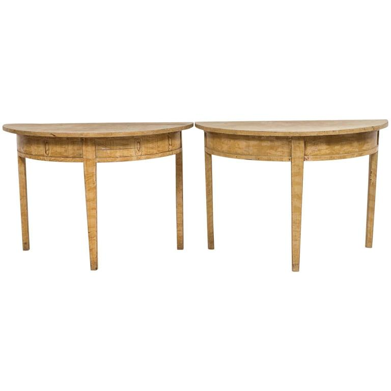 Pair of 19th Century Demilune Table For Sale