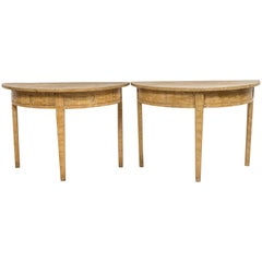 18th Century Yellow Birch Faux Paint Demi Lune Tables