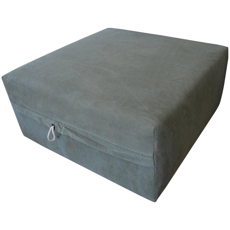 Ottoman Upholstered in Vintage Tent Canvas Mounted on Rustic Barn Board Frame